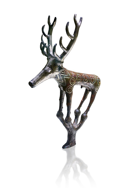 Bronze Age Hattian ceremonial deer statuette in bronze from a possible Bronze Age Royal grave (2500 BC to 2250 BC) - Alacahoyuk - Museum of Anatolian Civilisations, Ankara, Turkey. Against a white background