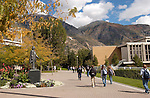 September General Campus Scenics (GCS).Sep 2004..Photo by Mark Philbrick/BYU.ASB Quad, Brigham Young statue, Fall leaves and colors, students walking on campus