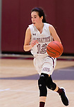 NAUGATUCK,  CT-011820JS08- Naugatuck's Kaylee Jackson (12) pushes the ball up court during their non-league game against Shepaug Saturday at Naugatuck High School. <br /> Jim Shannon Republican-American