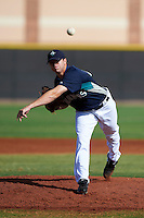Seattle Mariners minor league pitcher Scott DeCecco #45 during an instructional league game against the San Diego Padres at the Peoria Sports Complex on October 6, 2012 in Peoria, Arizona.  (Mike Janes/Four Seam Images)