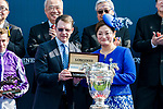 Trainer Aidan Patrick O'Brien of Highland Reel receives the prize from Karen Au-Yeung, vice President of LONGINES Hong Kong, after wining the Longines Hong Kong Vase (G1, 2400m) during the Longines Hong Kong International Races at Sha Tin Racecourse on December 10 2017, in Hong Kong, Hong Kong. Photo by Victor Fraile / Power Sport Images