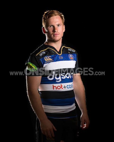 Rory Jennings poses for a portrait in the 2015/16 home kit during a Bath Rugby photocall on September 8, 2015 at Farleigh House in Bath, England. Photo by: Patrick Khachfe / Onside Images