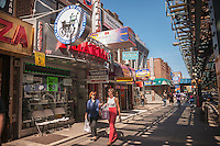 "Businesses and activities in the Brighton Beach neighborhood of Brooklyn in New York on Sunday, August 25, 2013. The neighborhood is sometimes colloquially named ""Little Odessa"" because of its popularity amongst Russian emigres and its proximity to the ocean. (© Richard B. Levine)"