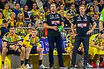 Auf der Bank - Gedeon Villaplana Guardiola (Rhein Neckar Löwen Nr.30), Ymir Örn Gislason (Rhein Neckar Löwen Nr.33), Mannschaftsverantwortlicher Oliver Roggisch (Rhein Neckar Löwen), Alexander Petersson (Rhein Neckar Löwen Nr.32), Trainer Martin Schwalb (Rhein Neckar Löwen) - beim Bundesliga-Spiel der Rhein Neckar Löwen gegen SC DHfK Leipzig am 03.03.2020 in der SAP Arena in Mannheim<br /> <br /> Foto © PIX-Sportfotos *** Foto ist honorarpflichtig! *** Auf Anfrage in hoeherer Qualitaet/Aufloesung. Belegexemplar erbeten. Veroeffentlichung ausschliesslich fuer journalistisch-publizistische Zwecke. For editorial use only.