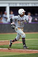 Carter Williams (1) of the North Carolina Central Eagles hustles down the first base line against the High Point Panthers at Williard Stadium on February 28, 2017 in High Point, North Carolina. The Eagles defeated the Panthers 11-5. (Brian Westerholt/Four Seam Images)