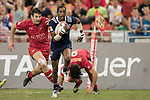 Perry Baker of USA runs with the ball while Matt Mullins of Canada is in pursuit during the match United States vs Canada, the Cup Final of the HSBC Singapore Rugby Sevens as part of the World Rugby HSBC World Rugby Sevens Series 2016-17 at the National Stadium on 16 April 2017 in Singapore. Photo by Victor Fraile / Power Sport Images