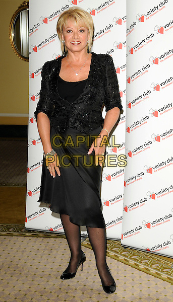 "ELAINE PAIGE.At ""The Sound Of Musicals"" tribute show, The Dorchester hotel, Park Lane, London, England, UK, .July 12th 2009..full length black dress jacket blazer tights shoes  beaded .CAP/CAN.©Can Nguyen/Capital Pictures"
