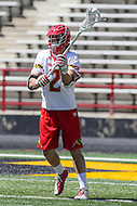 College Park, MD - April 8, 2017: Maryland Terrapins Colin Heacock (2) passes the ball during game between Penn State and Maryland at  Capital One Field at Maryland Stadium in College Park, MD.  (Photo by Elliott Brown/Media Images International)
