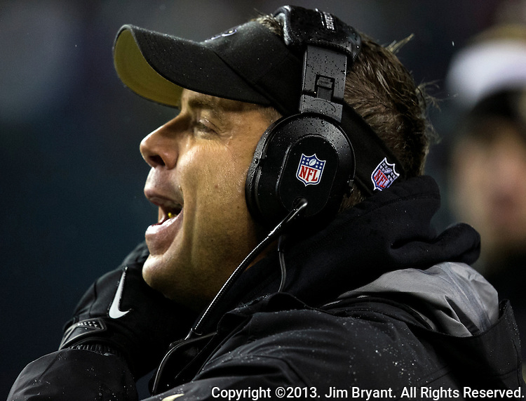 New Orleans Saints Saints head coach Sean Payton along the sidelines during the fourth quarter at CenturyLink Field in Seattle, Washington on December 2, 2013. The Seahawks became the first team to clinch a spot in the NFC playoffs with a 34-7 victory over the New Orleans Saints.    ©2013. Jim Bryant Photo. ALL RIGHTS RESERVED.