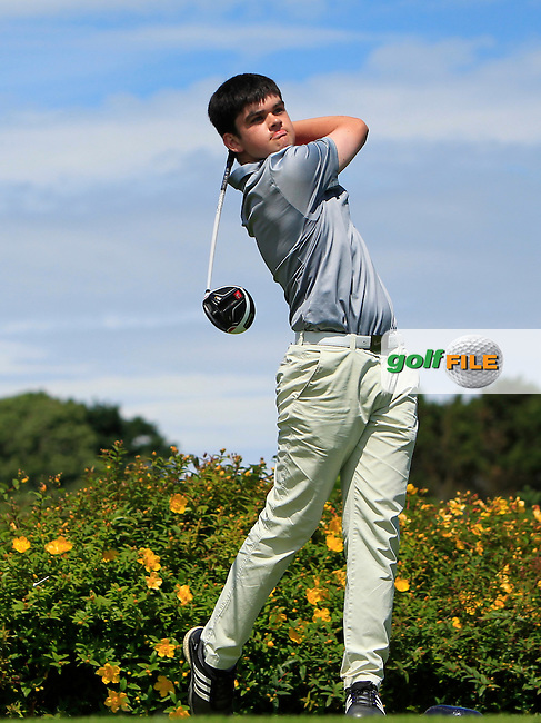 Ciaran Vaughan (Limerick) tees off on the 18th enroute to winning  the 2016 Connacht U18 Boys Open, played at Galway Golf Club, Galway, Galway, Ireland. 07/07/2016. <br /> Picture: Thos Caffrey | Golffile<br /> <br /> All photos usage must carry mandatory copyright credit   (&copy; Golffile | Thos Caffrey)