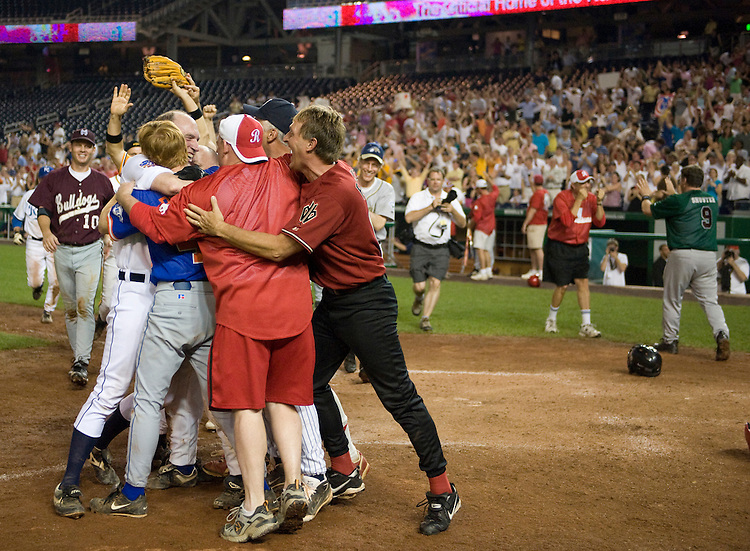Republican's celebrate after Adam Putnam, R-Fl., scored the winning run during the 47th Annual Roll Call Congressional Baseball Game at Nationals Park in Washington, D.C. on July 17, 2008.