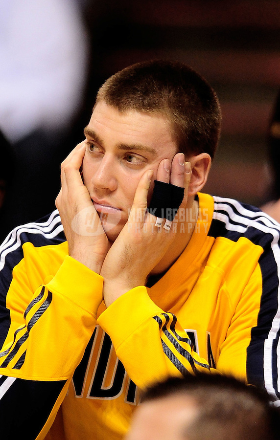 Dec. 3, 2010; Phoenix, AZ, USA; Indiana Pacers forward Tyler Hansbrough sits on the bench in the fourth quarter against the Phoenix Suns at the US Airways Center. The Suns defeated the Pacers 105-97. Mandatory Credit: Mark J. Rebilas-