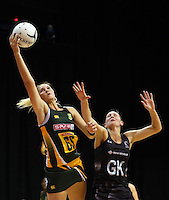 26.07.2015 Silver Ferns Casey Kopua and South Africa's Lenize Potgieter in action during the Silver Fern v South Africa netball test match played at Claudelands Arena in Hamilton. Mandatory Photo Credit ©Michael Bradley.