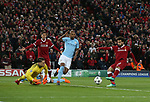 Mohamed Salah of Liverpool scores the first goal past Ederson of Manchester City during the Champions League Quarter Final 1st Leg, match at Anfield Stadium, Liverpool. Picture date: 4th April 2018. Picture credit should read: Simon Bellis/Sportimage