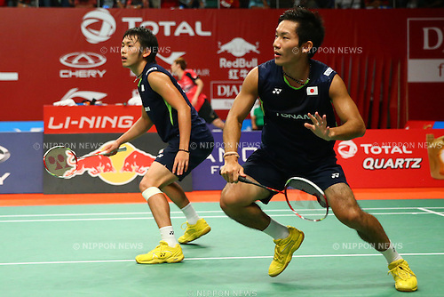 Keigo Sonoda & Takeshi Kamura (JPN), AUGUST 12, 2015 - Badminton : TOTAL BWF World Championships 2015 Men's Doubles 2nd round match at Istora Senayan Arena, Jakarta, Indonesia. (Photo by Shingo Ito/AFLO SPORT)