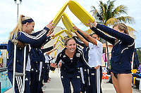14 January 2012:  FIU's senior Elly James is honored prior to the start of the meet.  The FIU Golden Panthers won the meet with the Central Connecticut State University Blue Devils at the Biscayne Bay Campus Aquatics Center in Miami, Florida.