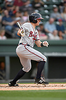Designated hitter Garrison Schwartz (4) of the Rome Braves bats in a game against the Greenville Drive on Saturday, April 14, 2018, at Fluor Field at the West End in Greenville, South Carolina. Rome won, 4-0. (Tom Priddy/Four Seam Images)