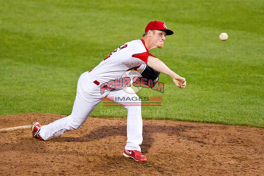 Keith Butler (38) of the Springfield Cardinals delivers a pitch during a game against the Arkansas Travelers at Hammons Field on May 5, 2012 in Springfield, Missouri. (David Welker/Four Seam Images).