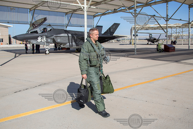 Lockheed Martin F-35 Lightning II multi-role fighter flown by Norwegian Air Force pilot.  Stationed at Luke Air Force base, Arizona,as  part of  US 62.fighter sq in 56th Fighter wing. The Norwegians train and operate in the US before  taking their own aircrafts back to Norway.<br /> Pilot Lieutenant colonel Martin Tesli , Senior National Representative.