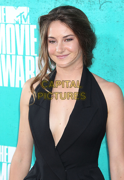 Shailene Woodley.2012 MTV Movie Awards held at the Gibson Amphitheatre, Universal City, California, UA..June 3rd, 2012.half length low cut neckline cleavage sleeveless top jacket.CAP/ADM/RE.©Russ Elliot/AdMedia/Capital Pictures.