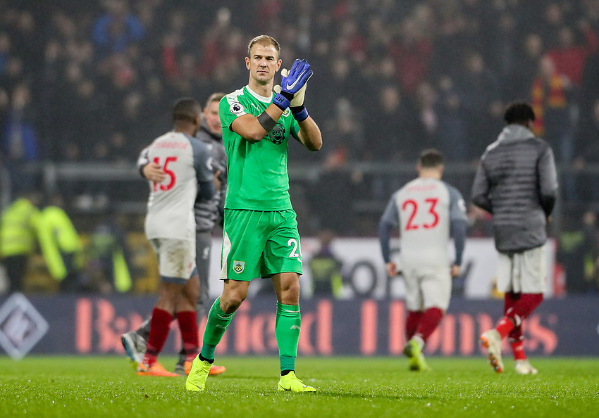 Burnley's Joe Hart applauds the home fans at the end of the match<br /> <br /> Photographer Andrew Kearns/CameraSport<br /> <br /> The Premier League - Burnley v Liverpool - Wednesday 5th December 2018 - Turf Moor - Burnley<br /> <br /> World Copyright © 2018 CameraSport. All rights reserved. 43 Linden Ave. Countesthorpe. Leicester. England. LE8 5PG - Tel: +44 (0) 116 277 4147 - admin@camerasport.com - www.camerasport.com