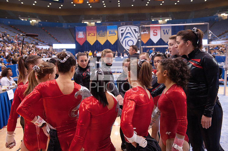LOS ANGELES, CA - March 19, 2011:  The Stanford's women's gymnastics team prior to the Pac-10 Championship at UCLA's Pauley Pavilon.   Stanford placed fourth in the competition.