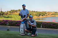 Yi Keun Chang (KOR) with his caddy Kenneth Quillinan during the Preview of the Hero Indian Open at the DLF Golf and Country Club on Monday 5th March 2018.<br /> Picture:  Thos Caffrey / www.golffile.ie<br /> <br /> All photo usage must carry mandatory copyright credit (&copy; Golffile | Thos Caffrey)
