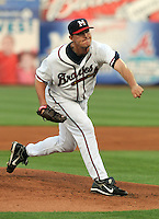 9 April 2008: Dan Smith (52) of the Mississippi Braves pitches  during the Braves' home opener against the Mobile BayBears at Trustmark Park in Pearl, Miss. Photo by:  Tom Priddy/Four Seam Images