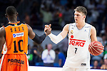 Real Madrid's player Luka Doncic and Valencia Basket's Sato during the first match of the Semi Finals of Liga Endesa Playoff at Barclaycard Center in Madrid. June 02. 2016. (ALTERPHOTOS/Borja B.Hojas)