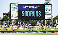 24th November 2019; Mt Maunganui, New Zealand;  500 runs on the scoreboard for NZ on day 4 of the 1st international cricket test match, New Zealand versus England at Bay Oval, Mt Maunganui, New Zealand.  - Editorial Use