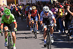 Bob Jungels (LUX) Quick-Step Floors attacks on the final climb into Bergamo Alta near the end of Stage 15 of the 100th edition of the Giro d'Italia 2017, running 199km from Valdengo to Bergamo, Italy. 21st May 2017.<br /> Picture: LaPresse/Pool Tim De Waele| Cyclefile<br /> <br /> <br /> All photos usage must carry mandatory copyright credit (&copy; Cyclefile | LaPresse/Pool Tim De Waele)