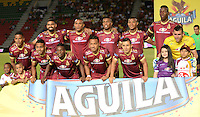 IBAGUE -COLOMBIA, 20 -08-2016. Formación del Deportes Tolima contra Junior. Acción de juego entre Tolima y  Junior durante encuentro  por la fecha 9 de la Liga Aguila II 2016 disputado en el estadio Murillo Toro./ Team of Deportes Tolima against Junior . Action game between  Tolima and Junior  during match for the date 9 of the Aguila League II 2016 played at Murilo Toro stadium . Photo:VizzorImage / Juan Carlos Escobar  / Contribuidor