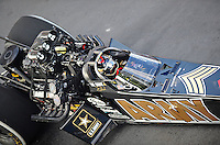 Sept. 17, 2010; Concord, NC, USA; NHRA top fuel dragster driver Tony Schumacher during qualifying for the O'Reilly Auto Parts NHRA Nationals at zMax Dragway. Mandatory Credit: Mark J. Rebilas/