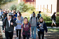 Students walking in between classes - Drill Field sidewalk next to McCool.<br />  (photo by Megan Bean / &copy; Mississippi State University)