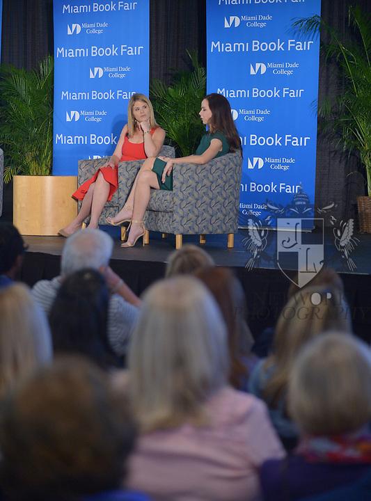 MIAMI, FL - NOVEMBER 16: Jenna Bush Hagar and Barbara Pierce Bush in conversation with Sheli Muniz at The Miami Book Fair at Miami Dade College Wolfson - Chapman Conference Center on November 16, 2017 in Miami, Florida. ( Photo by Johnny Louis / jlnphotography.com )