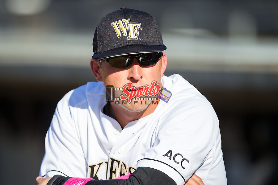 Wake Forest Demon Deacons assistant coach Bill Cilento (37) prior to the game against the Duke Blue Devils at Wake Forest Baseball Park on April 25, 2014 in Winston-Salem, North Carolina.  The Blue Devils defeated the Demon Deacons 5-2.  (Brian Westerholt/Sports On Film)