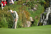 Straffin Co Kildare Ireland. K Club Ruder Cup...European Ryder cup team member Padraig Harrington chips in on the 14th green off on the opening fourball session on the first day of the 2006 Ryder Cup, at the K Club in Straffan, Co Kildare, in the Republic of Ireland, 22 September 2006..Photo: Eoin Clarke/ Newsfile..