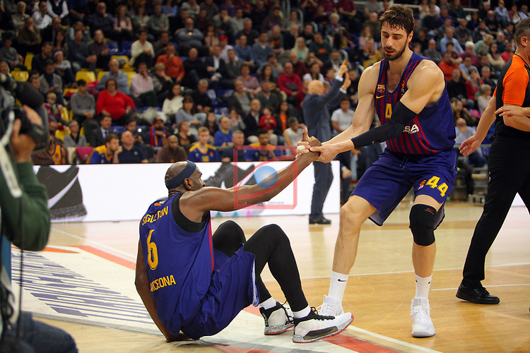 Turkish Airlines Euroleague 2018/2019. <br /> Regular Season-Round 30.<br /> FC Barcelona Lassa vs Khimki Moscow Region: 83-74. <br /> Chris Singleton & Ante Tomic.