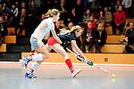 MANNHEIM, DEUTSCHLAND, JANUAR 12: 5. Spielwochenende in der Hockey Hallensaison 2013/2014 Süd. Begegnung zwischen dem Mannheimer HC (blau) und dem Münchner SC (weiss)  in der 1. Bundesliga Damen am 12. Januar, 2013 in der Irma-Röchling-Halle in Mannheim, Deutschland. Endstand 2-2. (1-2) (Photo by Dirk Markgraf / www.265-images.com) *** Local caption ***