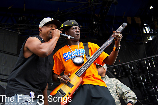 Chuck D (born Carlton Douglas Ridenhour) and Flavor Flav (born William Drayton, Jr.) perform during the The Beale Street Music Festival in Memphis, Tennessee.