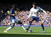 9th September 2017, Goodison Park, Liverpool, England; EPL Premier League Football, Everton versus Tottenham; Dele Alli of Tottenham and Idrissa Gueye of Everton clash as they compete for the ball