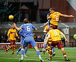 Peter Hartley heads in the second goal for Motherwell