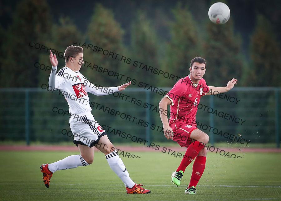 Fudbal Soccer<br /> International Friendly-Prijateljski mec<br /> Srbija U17 v Belorusiaj U17<br /> Jovan Pavlovic (R)<br /> Stara Pazova, 20.09.2016<br /> foto: Srdjan Stevanovic/Starsportphoto &copy;