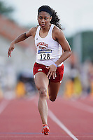 Kristina Knott of Arkansas State competes in 100 meter prelims during West Preliminary Track and Field Championships, Friday, May 29, 2015 in Austin, Tex. (Mo Khursheed/TFV Media via AP Images)