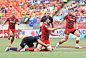 2nd February 2019, Spotless Stadium, Sydney, Australia; HSBC Sydney Rugby Sevens; Wales versus Scotland; Ben Roach of Wales passes the ball as Gavin Lowe of Scotland makes the tackle