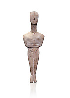 Ancient Greek Cycladic female figurine of the canonical type, Dokathismata and Spedos variety, Early Cycladic period II, Syros phase, 2800-2300 BC, Museum of Cycladic Art, Athens. Against white.<br /> <br /> Considered to be an intermediate or transitional form between the Dokathismata and Spedos varieties/
