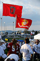 An OSU flags hangs above Penn State fans before the first quarter of their game at Beaver Stadium in State College, PA on October 25, 2014. (Columbus Dispatch photo by Brooke LaValley)