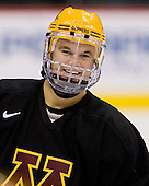 Derek Peltier (Minnesota 5) takes part in the Gophers' morning skate at the Xcel Energy Center in St. Paul, Minnesota, on Friday, October 12, 2007, during the Ice Breaker Invitational.