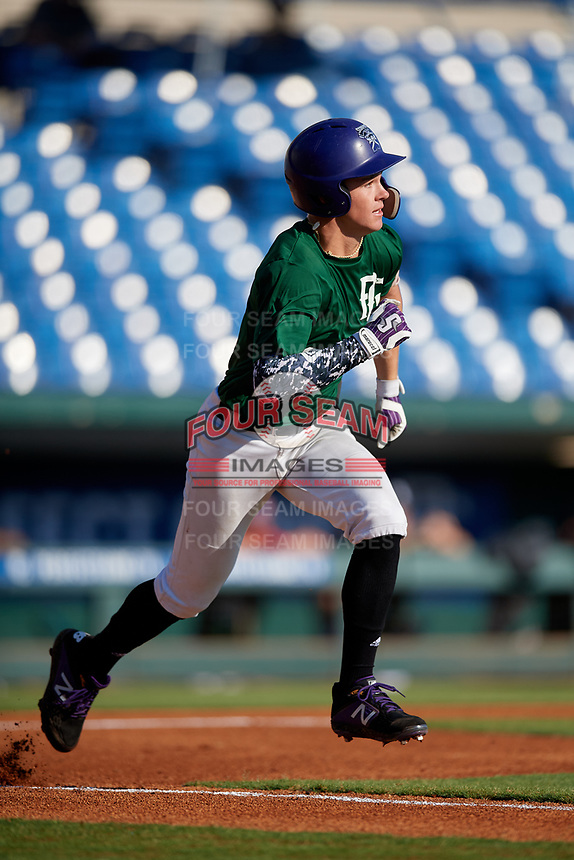 Corey Robinson (12) of Spruce Creek High School in Deland, FL during the Perfect Game National Showcase at Hoover Metropolitan Stadium on June 19, 2020 in Hoover, Alabama. (Mike Janes/Four Seam Images)