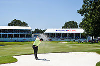Jon Rahm (ESP) hits from the bunker on 18 during round 1 of the WGC FedEx St. Jude Invitational, TPC Southwind, Memphis, Tennessee, USA. 7/25/2019.<br /> Picture Ken Murray / Golffile.ie<br /> <br /> All photo usage must carry mandatory copyright credit (© Golffile | Ken Murray)